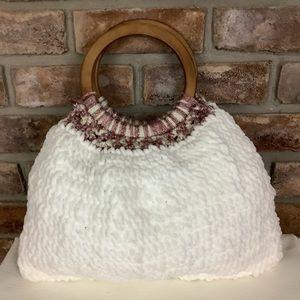 Hand Crocheted White Vintage Wood Handle Bag